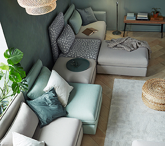 VALLENTUNA is our most flexible sofa ever. The modular design allows you to arrange, extend and build together seat modules with a bed or storage inside, back and arm rests, back cushions and more and create a sofa that fits your family perfectly.