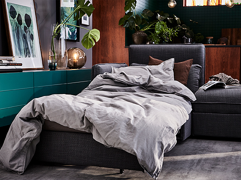 This IKEA VALLENTUNA sofa combination converts easily into a bed. And just as quickly back into a sofa. The sofa-bed module includes storage for extra cushions close at hand.