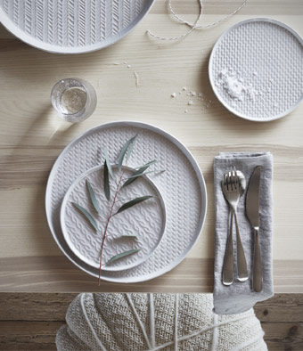 Serve your holiday meals in style. IKEA Winter plates are dishwasher safe, and include knitted and fishbone patterns for a modern Icelandic touch.