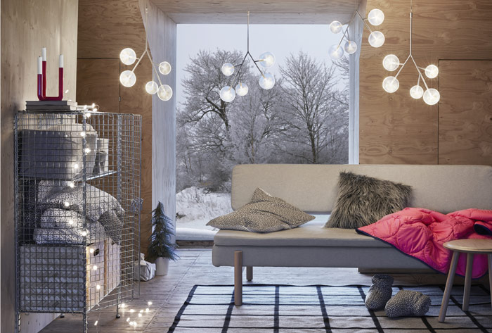 Give a warm, cosy white glow to your home with IKEA Winter STRÅLA LED chandelier lighting. These energy efficient hanging plastic lights resemble holly branches with a modern twist.