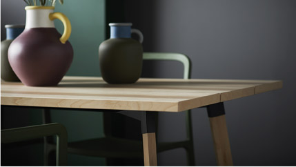 Made of sturdy solid birch wood, veneer and durable steel, IKEA YPPERLIG dining table is a refreshing take to the Scandinavian plank table.