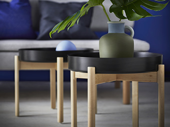 The IKEA and HAY YPPERLIG collection offers modern basics, including a portal coffee table with scratch-free feet made of soft birch.