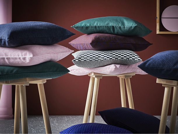 Explore the IKEA YPPERLIG collection with HAY, including patterned cushion covers that are both modern and affordable.