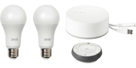 This IKEA TRÅDFRI smart kit consists of a remote control, 2 E27 LED light bulbs with white spectrum and a gateway. Use it together with the app to create several groups of light sources and control them in different ways, like dimming or changing colours.
