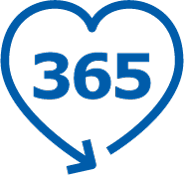 This pictogram represents the numbers 365 inside a heart. It illustrates the 365 days return policy we offer at IKEA..
