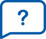 This pictogram represents a question mark in a speech bubble and marks the questions and answers section of the IKEA Smart lighting support.
