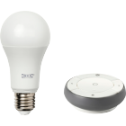 This IKEA TRÅDFRI dimming kit consists of an E27 LED light bulb with white spectrum and a remote control with which you can swap between 3 different light colours (cool white, warm white and warm glow).