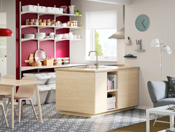 Add a Scandinavian modern kitchen to the center of your open-plan kitchen, dining and living area with ASKERSUND doors and open storage in ash.