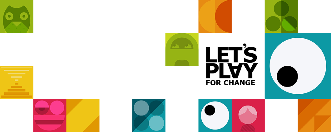 Let's Play For Change campaign graphics – cubes with childish patterns in different colours.