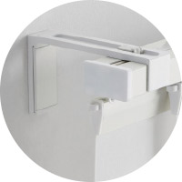 IKEA VIDGA white long wall fittings are 12cm long and help hold a track rail system in place.
