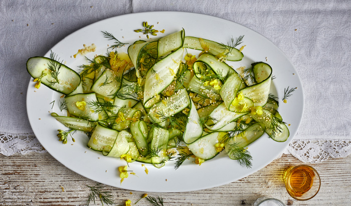 Try out the yummy IKEA recpie of Cucumber salad with lemon zest, dill & sesame seeds.