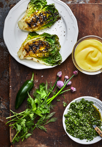 Try out the yummy IKEA recipe of Grilled little gem lettuce with rapeseed mayonnaise and chimichurri.