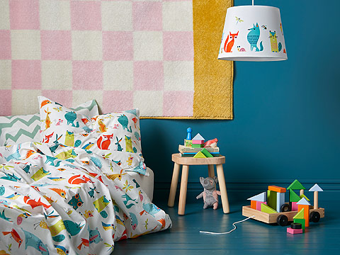 This colourful and decorative LATTJO animal print quilt cover and pillow will make your kids smile. IKEA has a wide range of toys and textiles in fun patterns and colours like bright red, green, yellow and pastel pink.