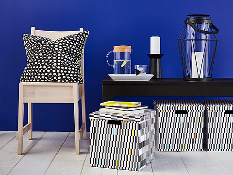 Energize your living room with bold patterns and textiles at IKEA! The black and white TJENA box hides your photos and memories while the RÖDPLISTER cushion with dots shows a bit of style. With different accessories, you can change the look of a room.