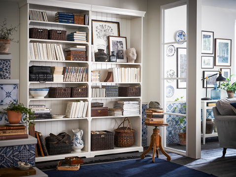 LIATORP bookcases are designed with details like cornice and plinth rail, giving them a traditional look that is highlighted when more units are added.
