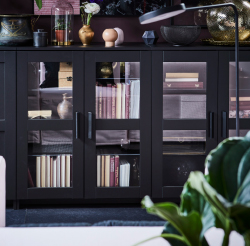 BRIMNES offers flexible storage, and also adds a touch of modern, accessible style to the living room. A filled cabinet with glass doors still has more room on top, an ideal surface for display.