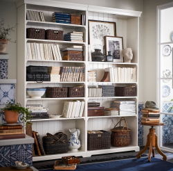 LIATORP bookcases are big, flexible, and designed with details like cornice and plinth rail. This gives them a traditional look that is highlighted when more units are added.