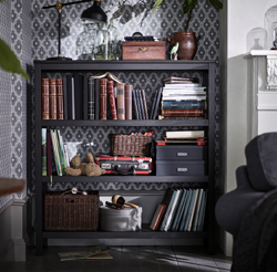 Add storage, style and a space for plants and decorative objects with a black-brown HEMNES shelving unit in solid wood. The design is simple, but the proportions, the finish and the natural feel of the material make it a fine piece of furniture.