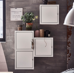 Whether white or brightly coloured, LIXHULT metal cabinets, with their modern and highly functional design, can easily and very flexibly be arranged to create a strong expression.