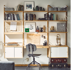 Everything needed for a workspace in the form of a SVALNÄS wall of shelves and cabinets. All wall and no floor space required, SVALNÄS is both functional and versatile.