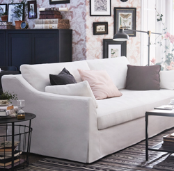 IKEA has a wide selection of sofas and one of them is FÄRLÖV spacious three-seat sofa with rounded armrests for elegant lines and a white yarn-dyed fabric with natural hints of flax that give the cover a texture that both looks and feels crisp.