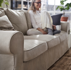 Strong seams, changeable covers and back cushions you can flip – this EKTORP three-seat sofa is made to keep you comfortable for many years to come.The cover is easy to keep clean as it is removable and can be machine washed.
