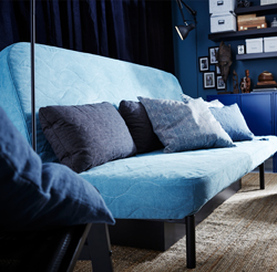 Functional in design and affordable, NYHAMN is ideal for getting more out of small spaces. No armrests and lightning quick conversion from sofa to bed. Washable covers and style included.