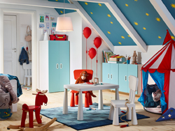 A blue, red and white circus themed children's bedroom with STUVA/FRITIDS wardrobe in white and light blue.