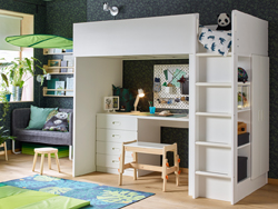 A green and white, amazon theme children's bedroom with STUVA/FRITIDS Loft bed combo with 4 drawers / 2 doors.