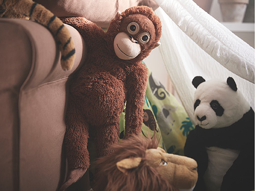 Paying tribute to the world's endangered species, DJUNGELSKOG soft toys look like a real orangutan, panda and tiger.