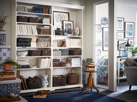 LIATORP is a storage series in traditional country style. Bookcases are designed with details like cornice and plinth rail, highlighting the look when more units are added.