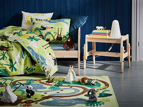 DJUNGELSKOG is a series of children's textiles and soft toys with colourful patterns and designs inspired by the jungle and its animals – perfect for young kids.