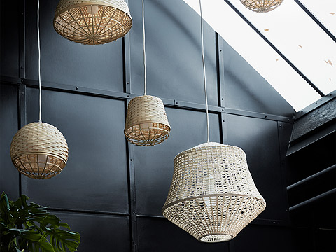 The lamps from the INDUSTRIELL collection come in four shapes and are made of hand-woven bamboo fibre.