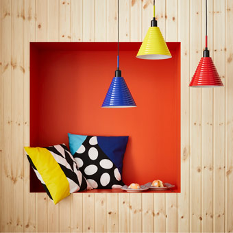 Let's reminisce back to the 70's and 80's with FÄRGSTARK pendant lamps in bold colours, celebrating IKEA 75 years.