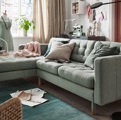 LANDSKRONA is a retro-style sofa with buttoned seats, resilient cushions, marked legs, and an overall touch of elegance.