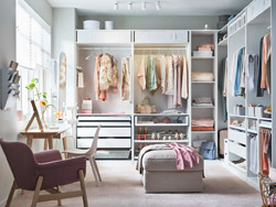 IKEA PAX wardrobe system and KOMPLEMENT storage system work together to create this dream walk-in closet. Organize your wardrobe in a similar fashion!