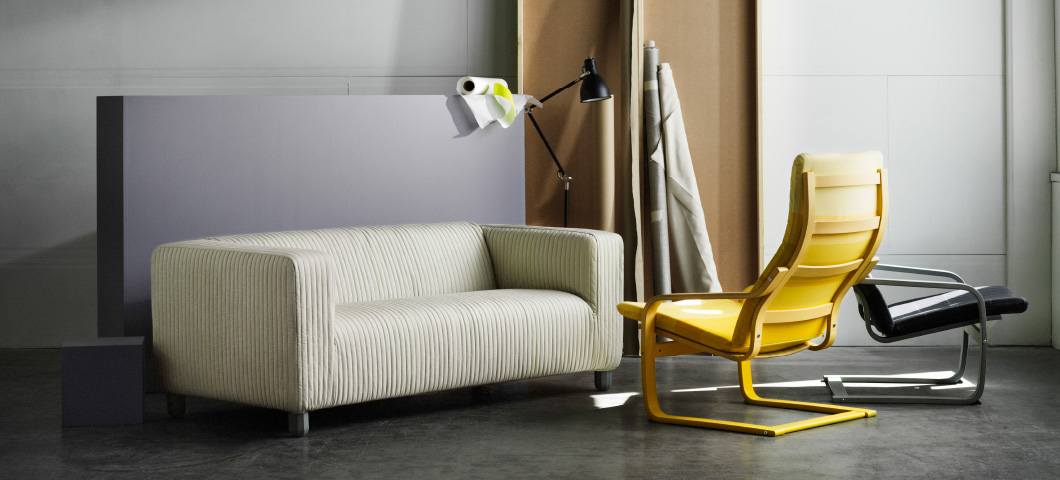 The LYSKRAFT collection offers lots of colourful versions of KLIPPAN sofas and POÄNG armchairs.
