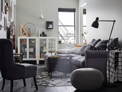 IKEA GRÖNLID LJUNGEN dark grey sofa is meant to last a family a lifetime with soft backrest cushions and sectionals that can be added as the family grows.