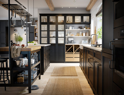 IKEA VADHOLMA island, cabinets and open storage shelves work with LERHYTTAN front cabinet doors to create a rustic kitchen layout, but with a modern twist.