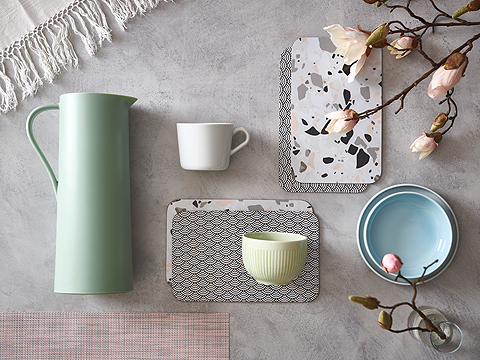 IKEA 365+ tableware kitchen series has colourful porcelain mugs, carafes, dishes and bowls that are safe to use in the microwave and dishwasher.