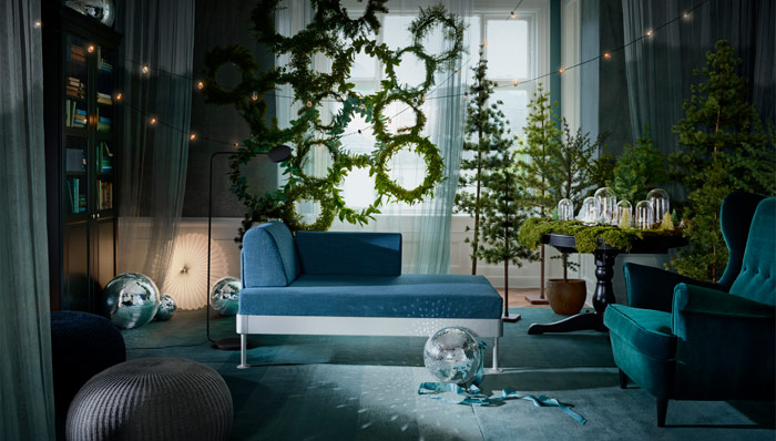 Forest green ready with IKEA SMYCKA art wreaths and plants so realistic, you can almost smell the fragrance of pine and nature. Winter collection 2018.