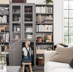 Flexible and easy to combine, HAVSTA shelves and cabinets are made in traditional Scandinavian design with solid pine wood and stain finish. They add timeless character and offer plenty of storage space.