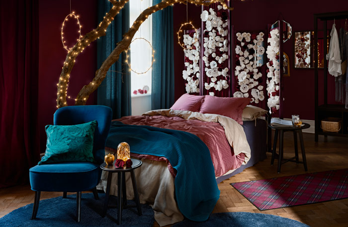 The IKEA winter textiles are designed for deep relaxation with rich colors, subtle floral patterns and soft cotton fabrics.