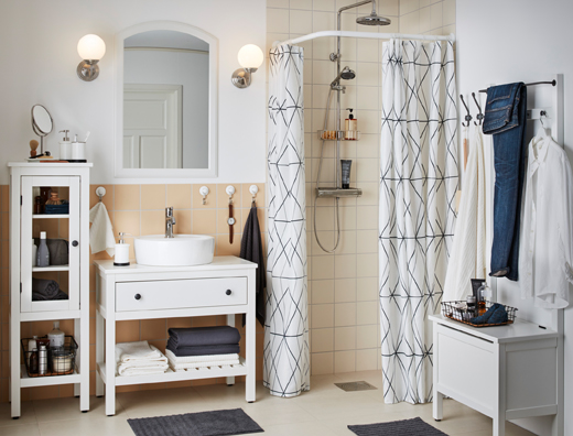 IKEA HEMNES bathroom series is a traditional furniture series with pure white drawers, towel stands, benches and clear glass cabinets to fit many spaces.
