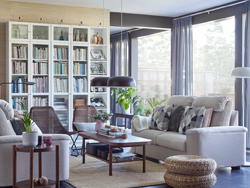 Create your own comfortable living room with IKEA LIDHULT beige 2-seater sofas, with plenty of storage with white BILLY glass bookcase shelves.