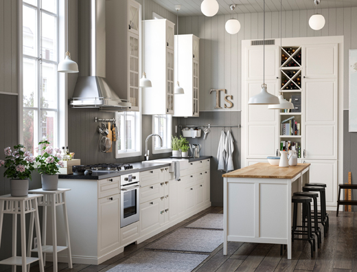 Alt text IKEA TORNVIKEN kitchen series provides closed and open white kitchen storage shelves and cabinets in many sizes to fit your culinary needs.