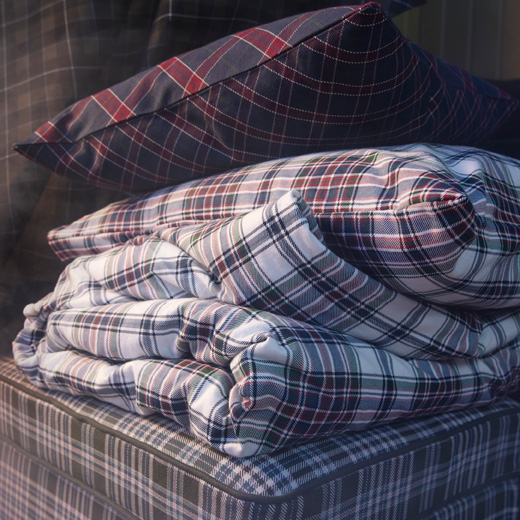 Warm up with this MOSSRUTA quilt cover and two pillowcases checkered in white, red, blue and green. From IKEA, it is made of soft cotton flannel that's brushed and velvety.