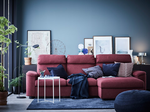 Geared towards total comfort, LIDHULT is a modern-style, floor-hugging sofa with broad armrests and chaise longue, high back, and headrest.