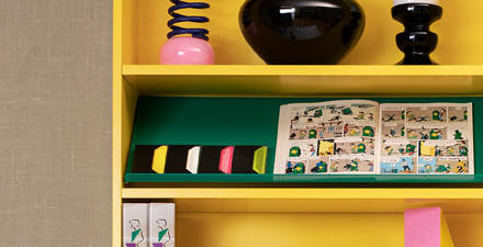 Used to display magazines and other flat items, the BOTTNA display shelf comes in a bright green that goes well with a yellow BILLY bookcase.