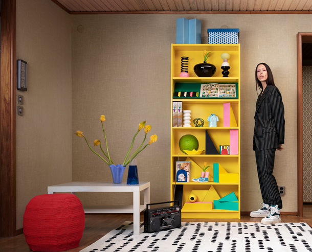 New at IKEA, the BILLY bookcase in a bold yellow hue.